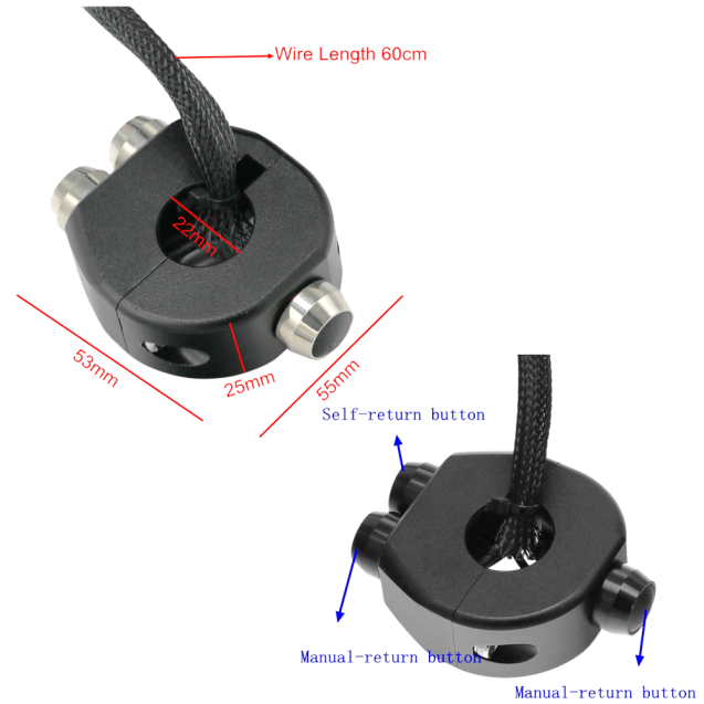 Universal Handlebar Control Switches - For 22mm handlebar Manual-Self Return-Manual