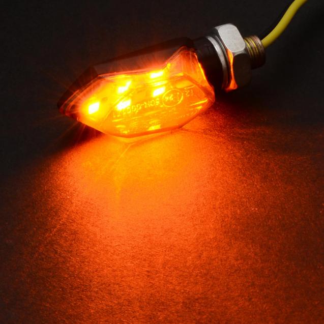 Universal Mini Motorcycle Amber LED Indicators - Plastic 2Pcs